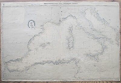 Mediterranean Sea Spain France Italy Sicily Antique Admiralty Chart Map 1880