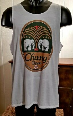 CHANG BEER Two Elephants Logo White Tank Top XXL