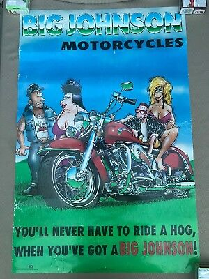 "RaRe. vintage Big Johnson poster 23x35"" motorcycle cartoon funny chopper (1994)"