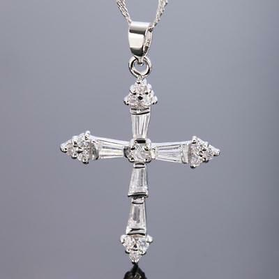 Women Necklace cross Pendant Zirconia White 750 Gold 18k Plated Silver A1734