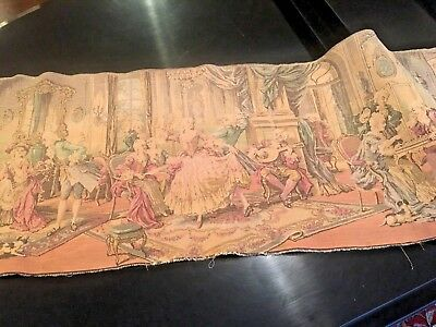 Vintage Woven Belgium Tapestry  54''x19'' French Colonial Scene