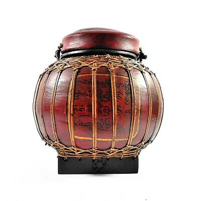 Vintage Asian Decorative Basket with Lid and Hanging Rope