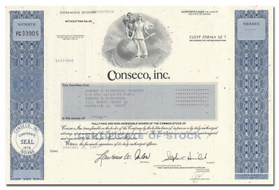 Conseco, Inc. Stock Certificate (Huge Bankruptcy!)
