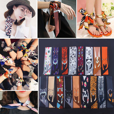 Fashion Womens Twilly Animal Ribbon Scarf Hair Band Bag Tied Handle Silk Wraps