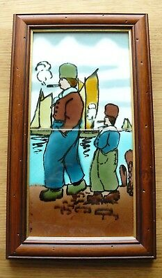 Rare Antique Majolica Dutch Scene Smoking & Boats 2 Tile Framed Richards VG
