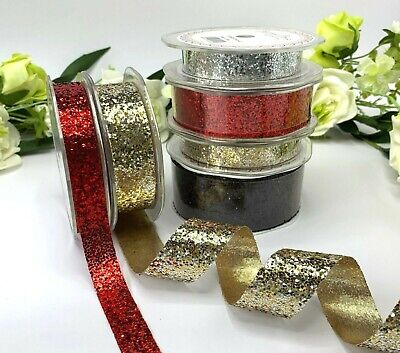 Metallic Sparkle Glitter Ribbon Roll Christmas Red Black Gold Silver Card Stiff