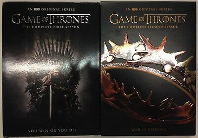 Game of Thrones Complete Seasons 1 & 2 DVD Box Set, Adult Owned, 10 Discs total
