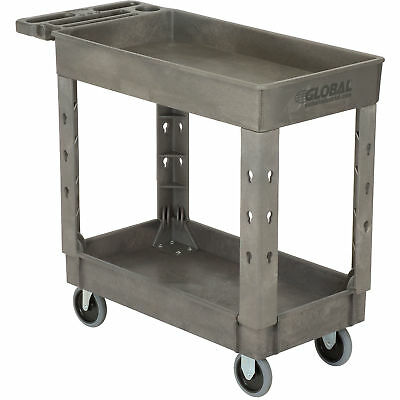 "Plastic 2 Shelf Tray Service & Utility Cart, 38"" x 17-1/2"", 5"" Rubber Casters,"