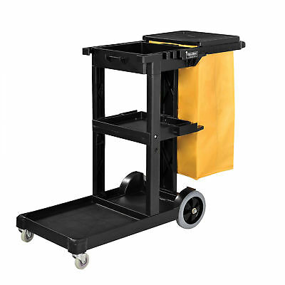 Janitor Cart with 25 Gallon Vinyl Bag, Black, Lot of 1
