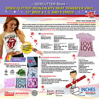 "SISER GLITTER IRON-ON HTV HEAT TRANSFER VINYL 12"" WIDE x 1, 3, AND 5 YARDS"
