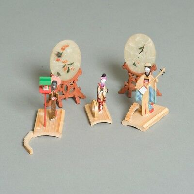 Lot of 5 Miniature Antique Japanese Decorative Balsa Wood Figurines & Jade Art