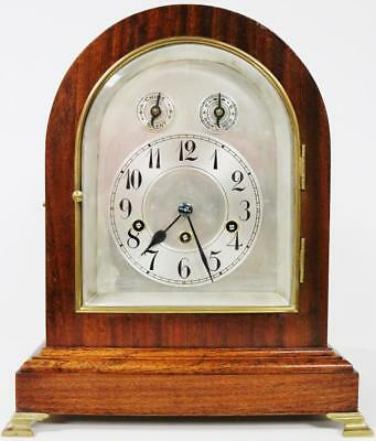 Antique German Junghans 8 Day Mahogany Musical Westminster Chime Bracket Clock