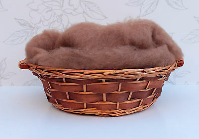 Large Sienna Brown Wool Fluff Photo Prop, Perendale Basket Stuffer, Basket Liner