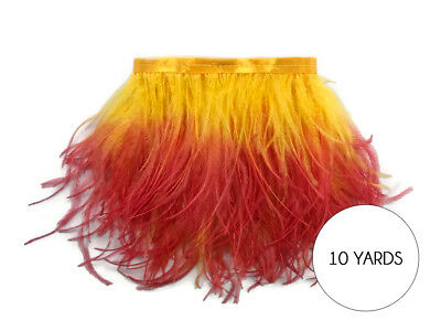 10 Yard - Fiery Red Ombre Ostrich Fringe Trim Wholesale Feather Halloween Dress