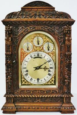 Antique German 8 Day W & H Carved Oak 3 Train Double Chime Musical Bracket Clock