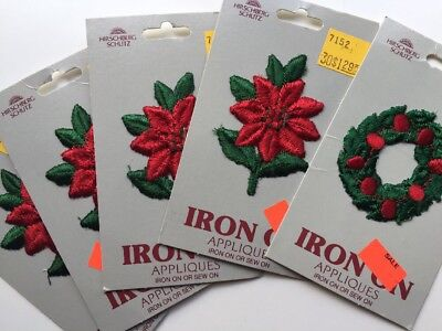 5 Hirschberg Embroidered Applique Iron On Patches Christmas Wreath Poinsettia US