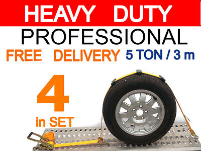 Professional Set of 4 Car Transporter Ratchet Straps Trailers Recovery 5 TON