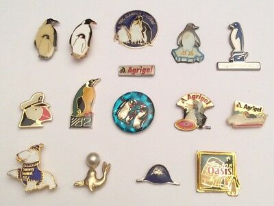 Lot 13 Pin's 2 Brooch Pingouin Penguin Cousteau Phoque Otarie Seal Lion Sealink