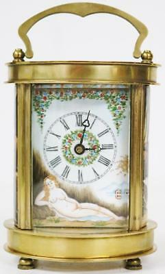 Vintage 8 Day French Brass & Hand Painted Enamel Panelled Oval Carriage Clock
