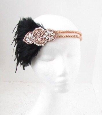 Black Rose Gold Feather Pearl Headband Headpiece 1920s Great Gatsby Flapper 6318
