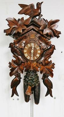 Vintage German Hand Carved Black Forest Style Twin Weight Cuckoo Wall Clock