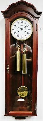 Vintage Franz Hermle Twin Weight Carved Mahogany Slimline Vienna Wall Clock