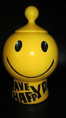 """Vintage 11"""" McCoy Cookie Jar Yellow Smiley Face Round 70's Have A Happy Day Rare"""