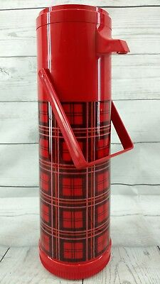 Vintage Aladdin Red Plaid Pump-a-Drink 1 Quart Coffee Camping Thermos