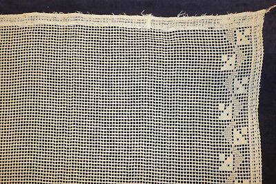 Pair of Vintage Tea Stained Lace Cafe Curtains w/ Triangular Pattern Border