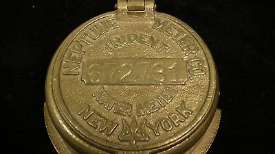 VINTAGE BRASS TRIDENT WATER METER COVER Paperweight, NEPTUNE METER CO.NEW YORK
