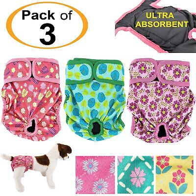 PACK of 3 Female Dog Diapers Cat LEAK PROOF Washable Waterproof Small Large Pet