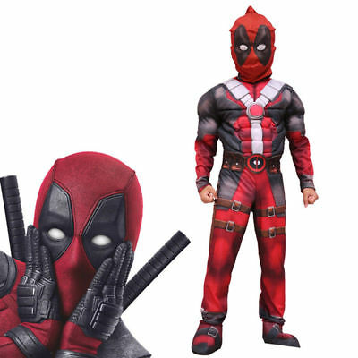 Deluxe Boys Marvel Deadpool Halloween Party Costume Children Muscle Movie Hallow