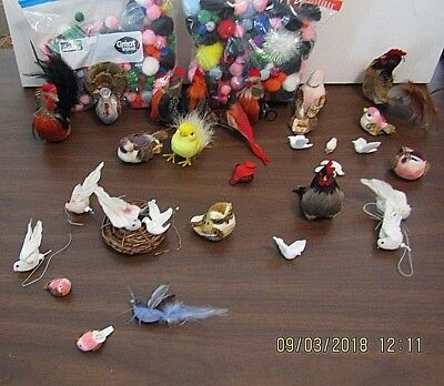 Large Lot 28 Feather BIRDS Fake Decorations CRAFTS Party Big Variety Clip On