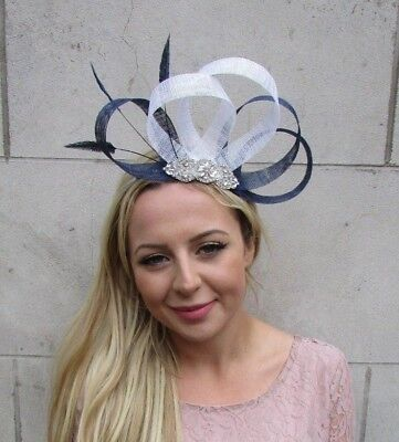 Navy Blue White Silver Feather Fascinator Sinamay Hair Races Wedding Hat 6330