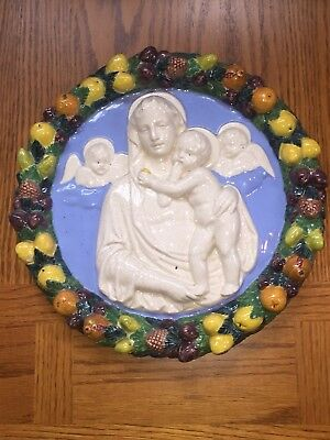 Virgin Mary Della Robbia Madonna Plaque w/ Infant, Angels, Fruit- Made in Italy