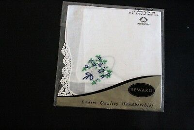 SEWARD ladies white cotton handkerchief with embroidered basket of flowers. NEW.