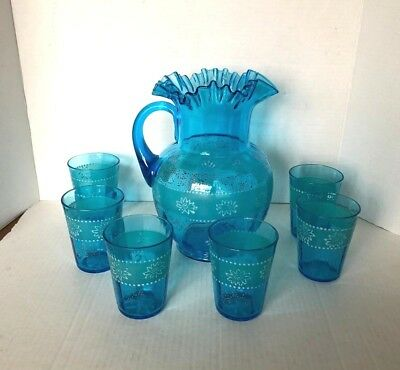 Vintage Hand painted Glass Juice Set, Pitcher and 6 Glasses, Perfect Condition