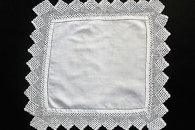 Vintage small square white linen cloth with crochet edge.