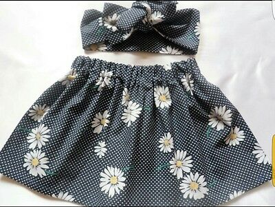 Beautiful Summer Floral Daisy Polkadots Print Baby's Skirt and Headwrap New