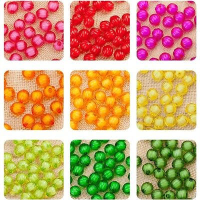 8mm 100pcs Acrylic Transparent Chunky Bubblegum Pumpkin Shape Beads DIY Craft