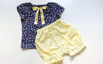 Beautiful Daisy Top and bloomer set girls baby's summer sping clothes handmade
