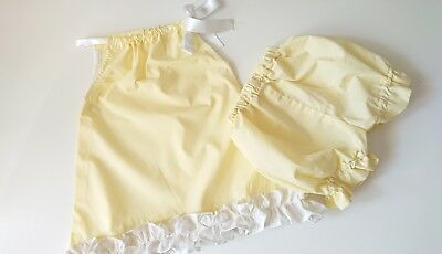 Beautiful Yellow Dress and Bloomer set girls baby summer sping clothes handmade