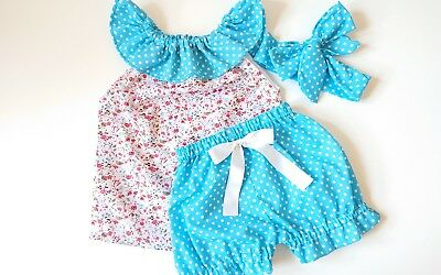 Beautiful Floral Polkadot Top Bloomer and Headwrap baby's summer sping clothes