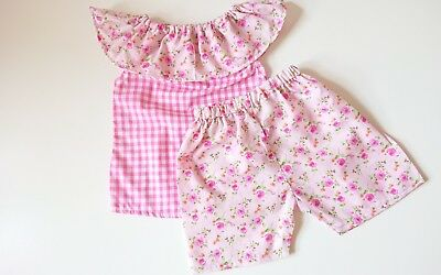 Beautiful Floral Gingham Top Short set baby's summer sping clothes handmade