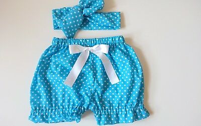 Beautiful Summer Polkadot Baby's Bloomer and headwrap set girls clothes New