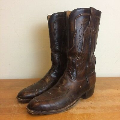 Lucchese Vintage 60s Mens 9.5 D Brown Leather Western Cowboy Boots