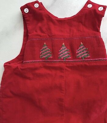 Vintage Baby Overalls Christmas Trees Smocked Corduroy Size 6 Months Red Holiday