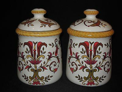 Set of 2 Pier 1 Oralia Handpainted Earthenware Canister Set w/ Lids