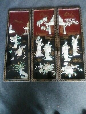 """3 Vintage Asian Mother of Pearl Black Lacquer Wall Panels 12""""x 36"""" each"""