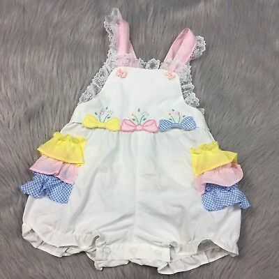 Vintage Baby Girls White Pink Blue Gingham Lace Ruffle Bow Sunsuit Romper